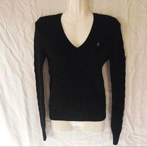 Ralph Lauren Sport Black Cable Knit Cotton Sweater